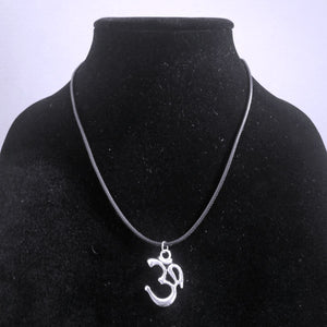 Om Pendant Necklace - Braided Leather - Spiritual Symbol