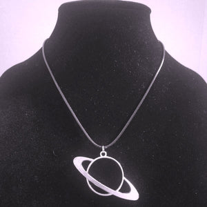 Saturn Pendant Necklace - Braided Leather