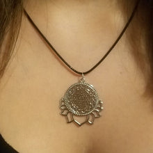 Sri Yantra Pendant Necklace - Lotus Blossom - Meditation Mantra