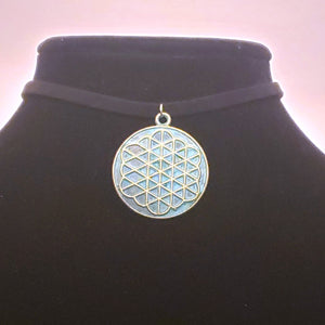 Flower of Life Choker Necklace - Ancient Coin - Sacred Geometry Jewelry