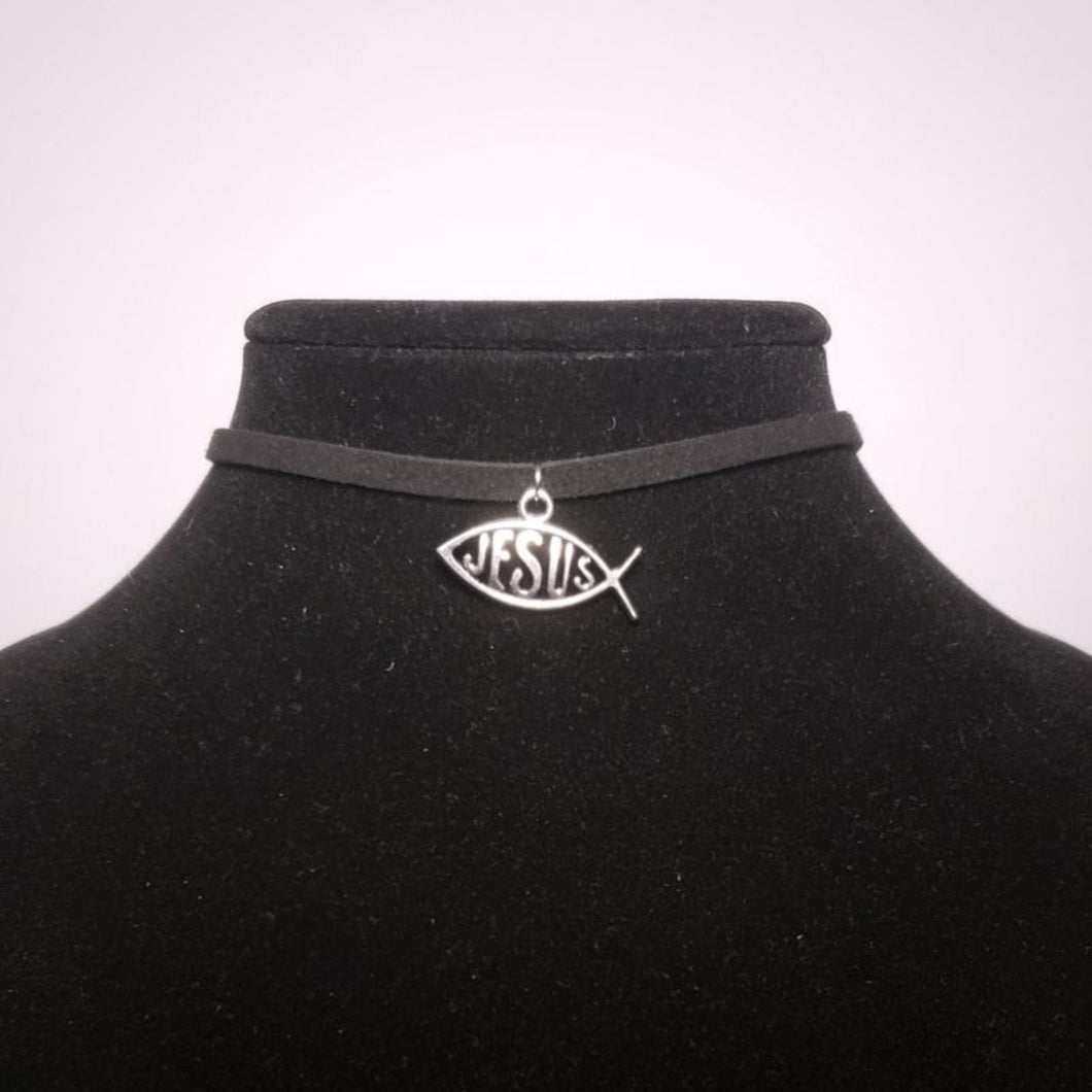 Jesus Fish Choker Necklace - Silver Christian Pendant