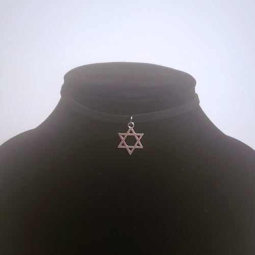 Star of David Choker Necklace - Silver Jewish Pendant Symbol