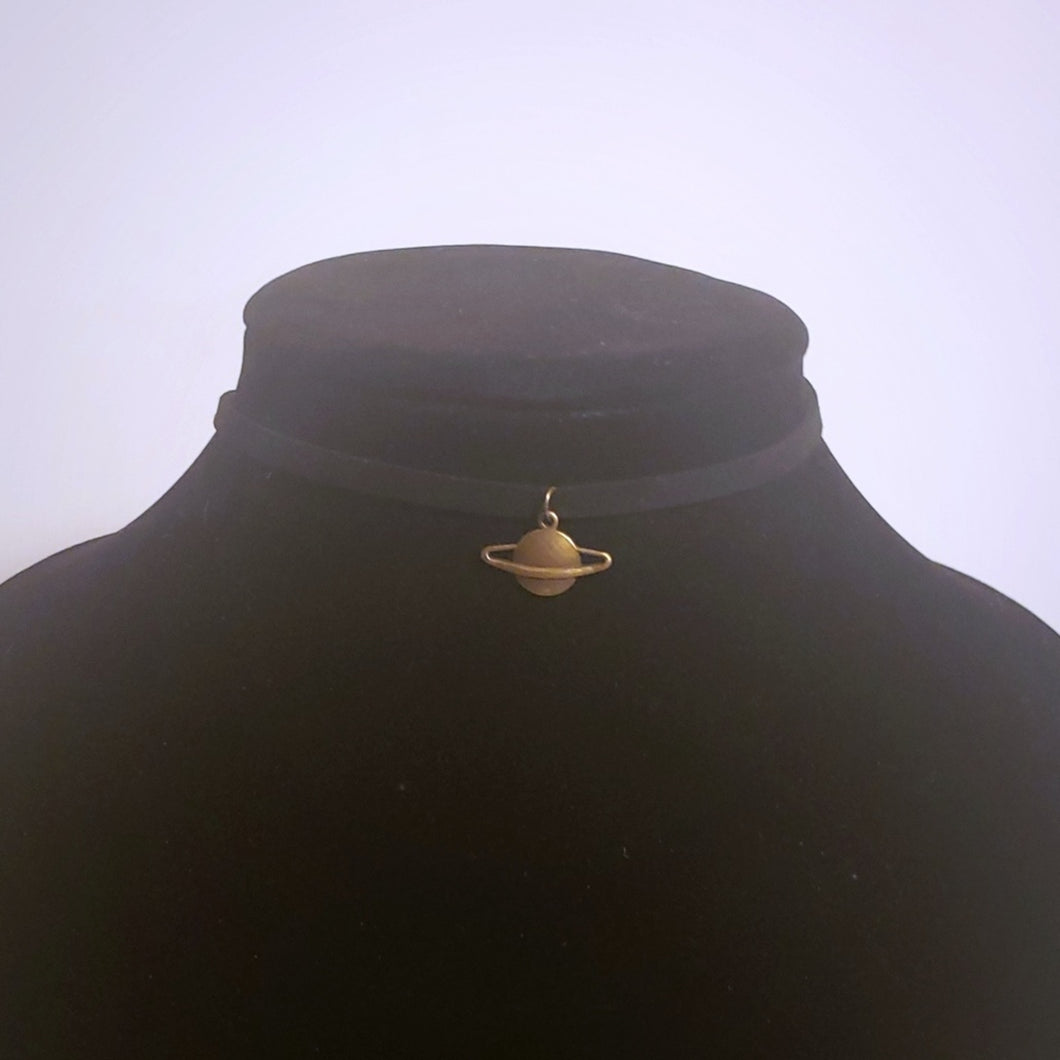 Small Saturn Choker Necklace Astrological Symbol Pendant
