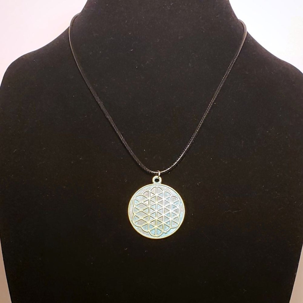 Flower of Life Necklace - Sacred Geometry Pendant Jewelry - Ancient Coin