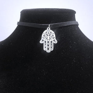 Hamsa Hand Choker Necklace - Hand of God Symbol Jewelry