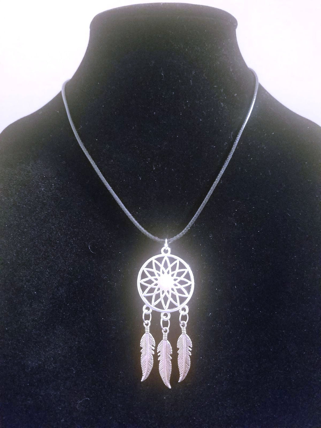 Dream Catcher Necklace Braided Leather - Native American Pendant