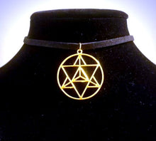 Gold Merkaba CHOKER Necklace Sacred Geometry Charm - Paragon Designer Pendants