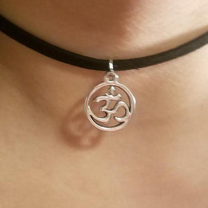 Om Circle Charm CHOKER Necklace Spiritual Symbol Jewelry - Paragon Designer Pendants