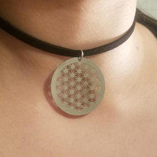 Flower of Life CHOKER Thin Silver Coin Sacred Geometry Jewelry by PARAGON - Paragon Designer Pendants