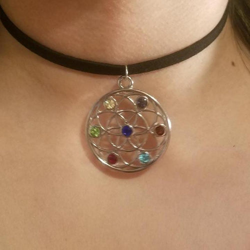 Silver Jeweled Seed of Life CHOKER Necklace Sacred Geometry - Paragon Designer Pendants