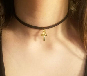 Ankh CHOKER Necklace Small Gold Egyptian Spiritual Charm- Paragon Designer Pendants