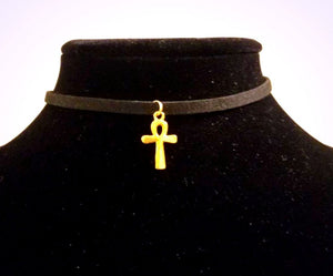 Ankh CHOKER Necklace Small Gold Egyptian Spiritual Charm - Paragon Designer Pendants