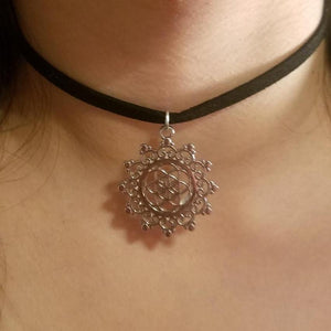 Silver Star Fractal CHOKER Seed of Life Charm - Paragon Designer Pendants
