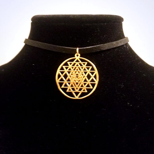Gold Sri Yantra CHOKER Necklace Meditation Symbol Charm - Paragon Designer Pendants
