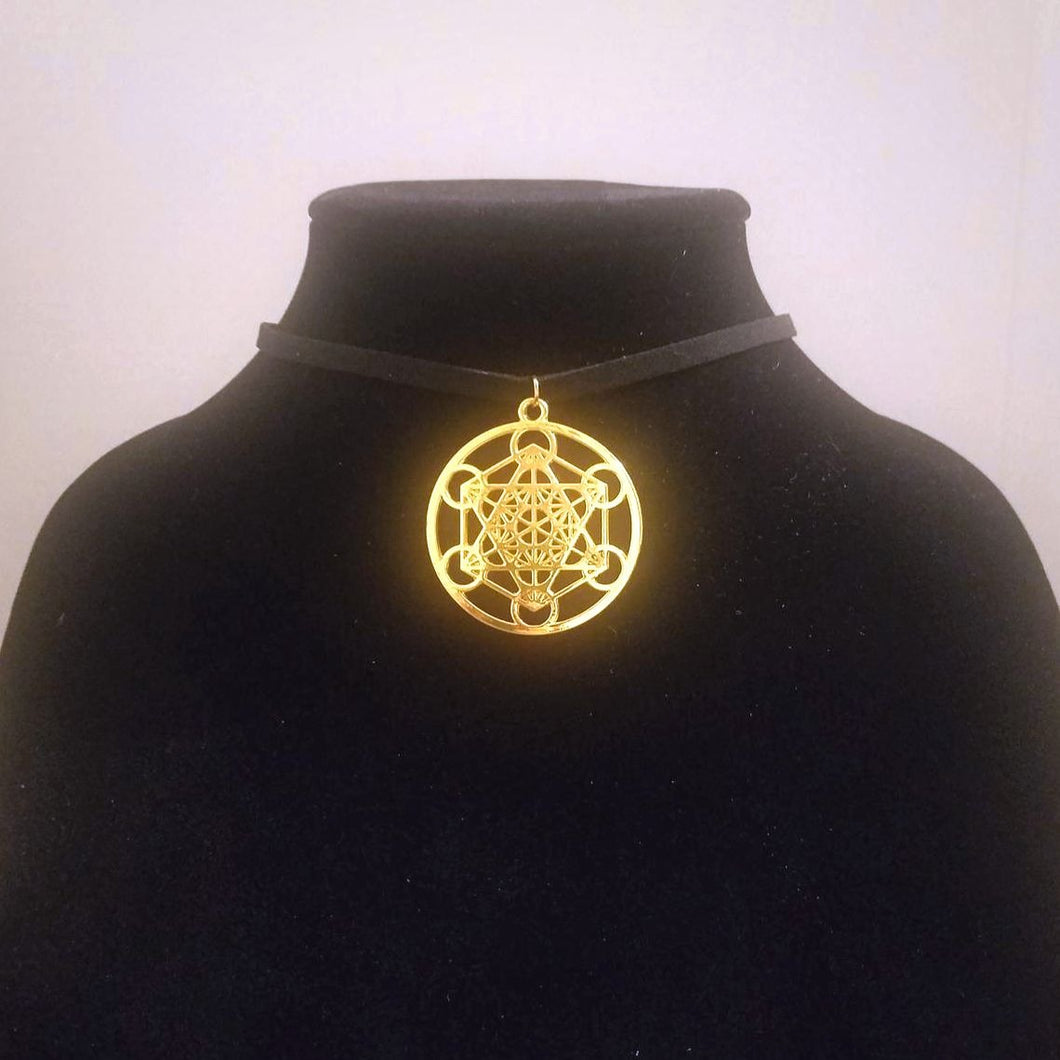 Gold Metatron's Cube CHOKER Necklace Sacred Geometry Charm - Paragon Designer Pendants