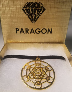 Gold Metatron's Cube CHOKER Necklace Sacred Geometry Charm- Paragon Designer Pendants