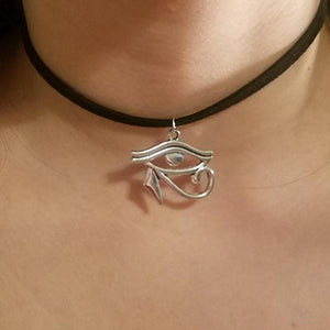 Silver Eye of Horus CHOKER Necklace Egyptian 3rd / Third Eye Jewelry - Paragon Designer Pendants