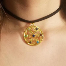Gold Jeweled Seed of Life CHOKER Necklace Sacred Geometry - Paragon Designer Pendants