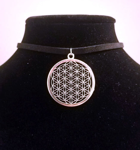 Silver Flower of Life CHOKER Necklace Sacred Geometry Jewelry - Paragon Designer Pendants