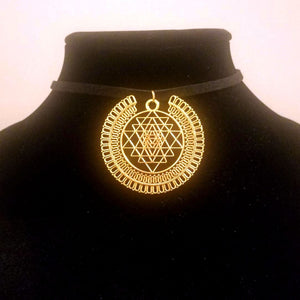 Gold Sri Yantra CHOKER - Meditation Symbol Full Halo Sacred Geometry Charm
