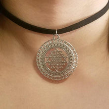 Silver Sri Yantra CHOKER Necklace - Meditation Symbol Full Halo Charm - Paragon Designer Pendants