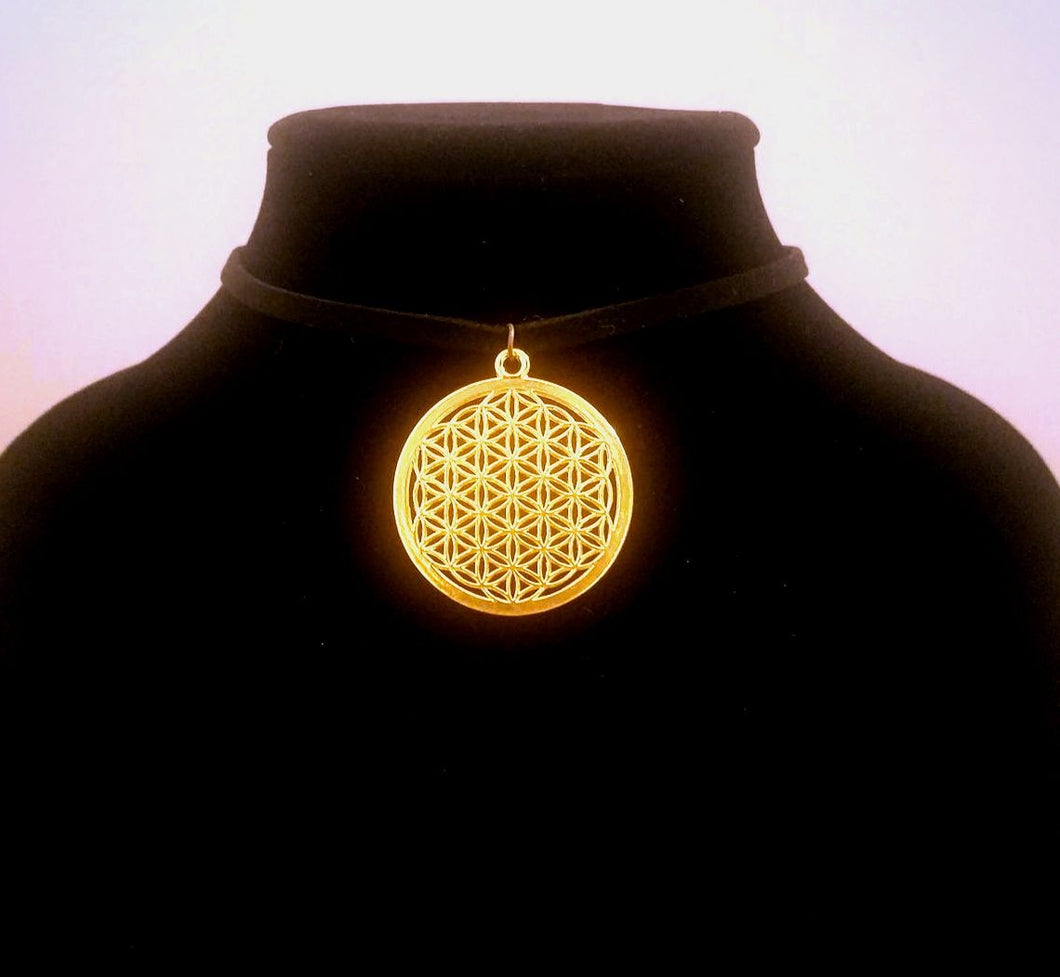 Gold Flower of Life CHOKER Necklace Sacred Geometry Jewelry - Paragon Designer Pendants