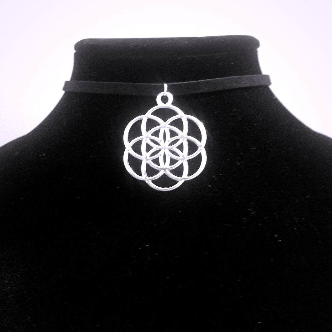 Silver Seed of Life CHOKER Sacred Geometry Charm Jewelry PARAGON - Paragon Designer Pendants