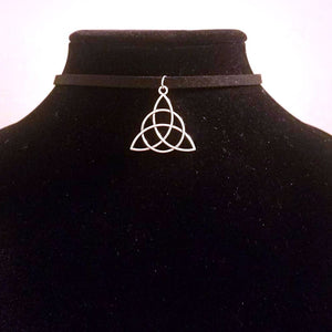 Silver Triquetra / Celtic Trinity Knot CHOKER Necklace Sacred Jewelry - Paragon Designer Pendants