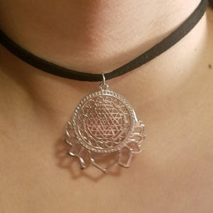 Sri Yantra Meditation CHOKER Lotus Blossom Charm by PARAGON