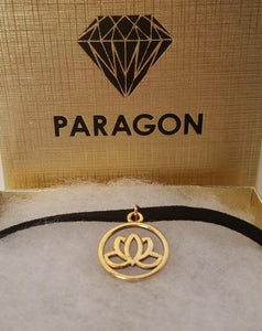 Lotus Flower CHOKER Necklace Spiritual Symbol Charm - Paragon Designer Pendants