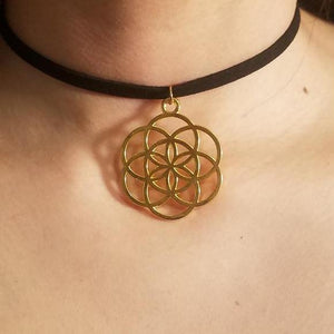Gold Seed of Life CHOKER Necklace Sacred Geometry Charm Jewelry - Paragon Designer Pendants