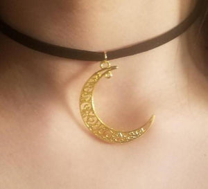 Gold Crescent Moon Charm CHOKER by PARAGON - Paragon Designer Pendants