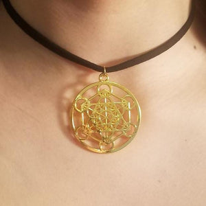 Gold Metatron's Cube CHOKER Sacred Geometry Charm by PARAGON