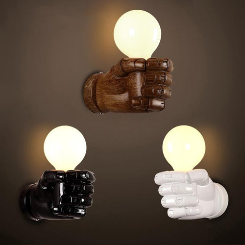 Artistic resin fist wall lamp - Paruse