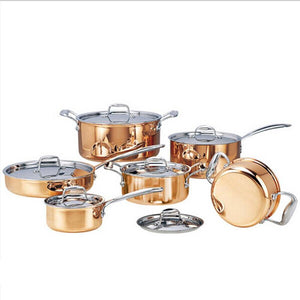 6 Pieces High-grade Copper Cooking Pots With Frying Pan.
