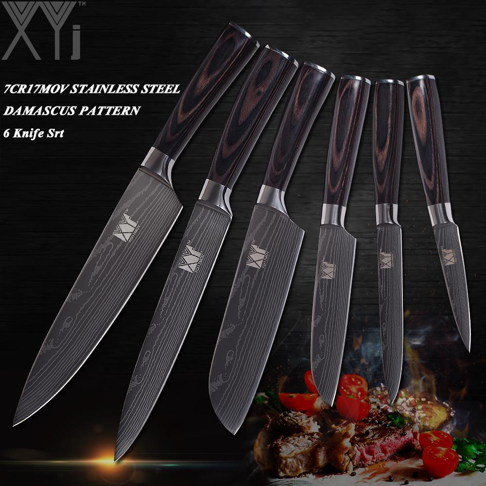 XYj Damascus Veins Stainless Steel Knife Sets - Paruse