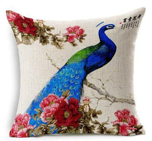 Open image in slideshow, The Elegant Blue Peacock Blue And White Porcelain  Pillow - Paruse