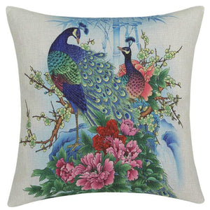 Open image in slideshow, Traditional Flower Birds Painting Peacocks Throw Pillow Cover - Paruse