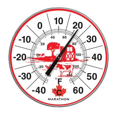 "Canadian 12"" Indoor/Outdoor Dial Thermometer"