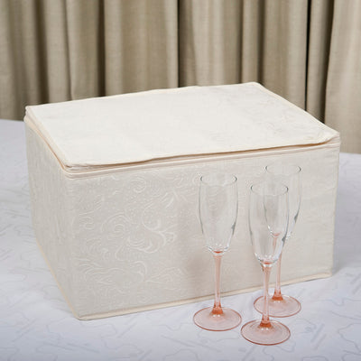 Deluxe Quilted Damask Stemware Storage Case