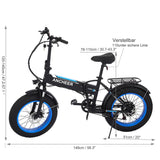 Fat Tire 20inch 48V Folding Mountain Snow E-bike
