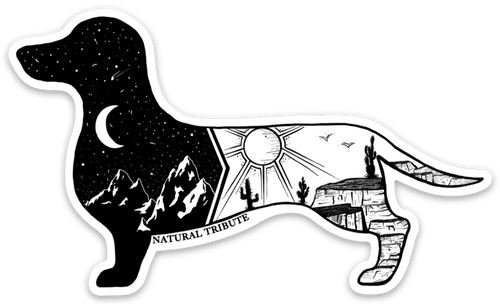 Night and Day Dachshund Artist Series Sticker