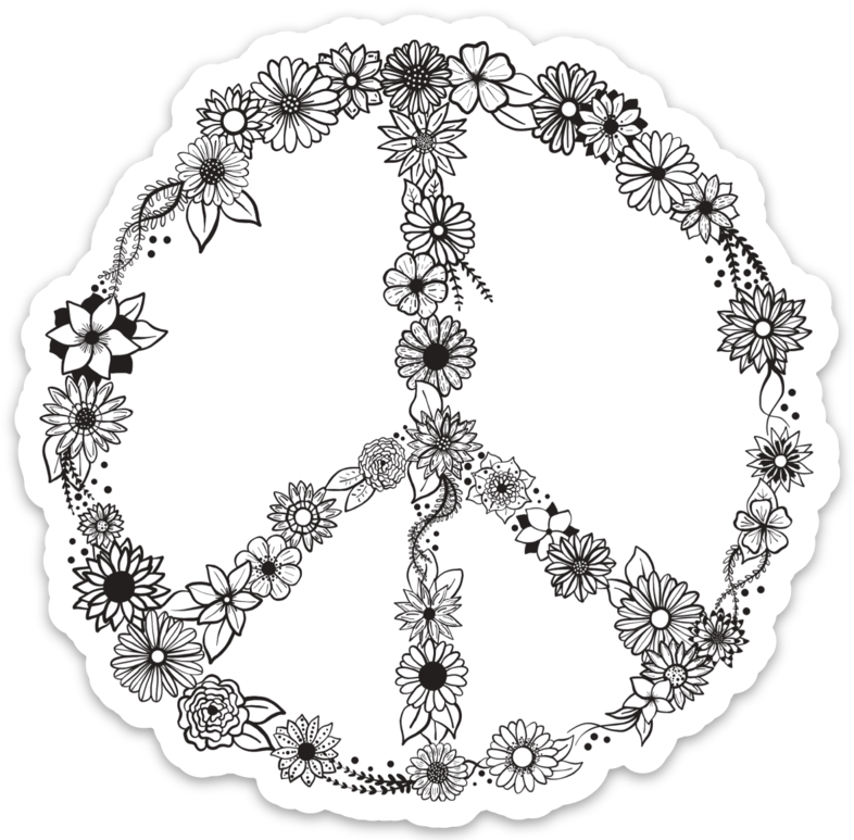 Floral Peace Sign Sticker