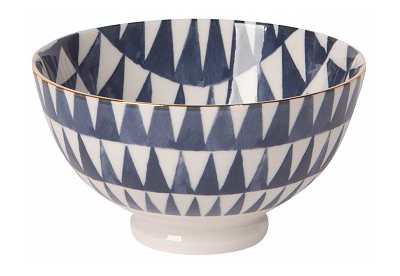 Small Bowl With Triangles & Gold Trim