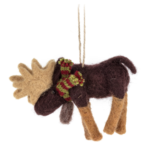 Moose With Scarf Ornament