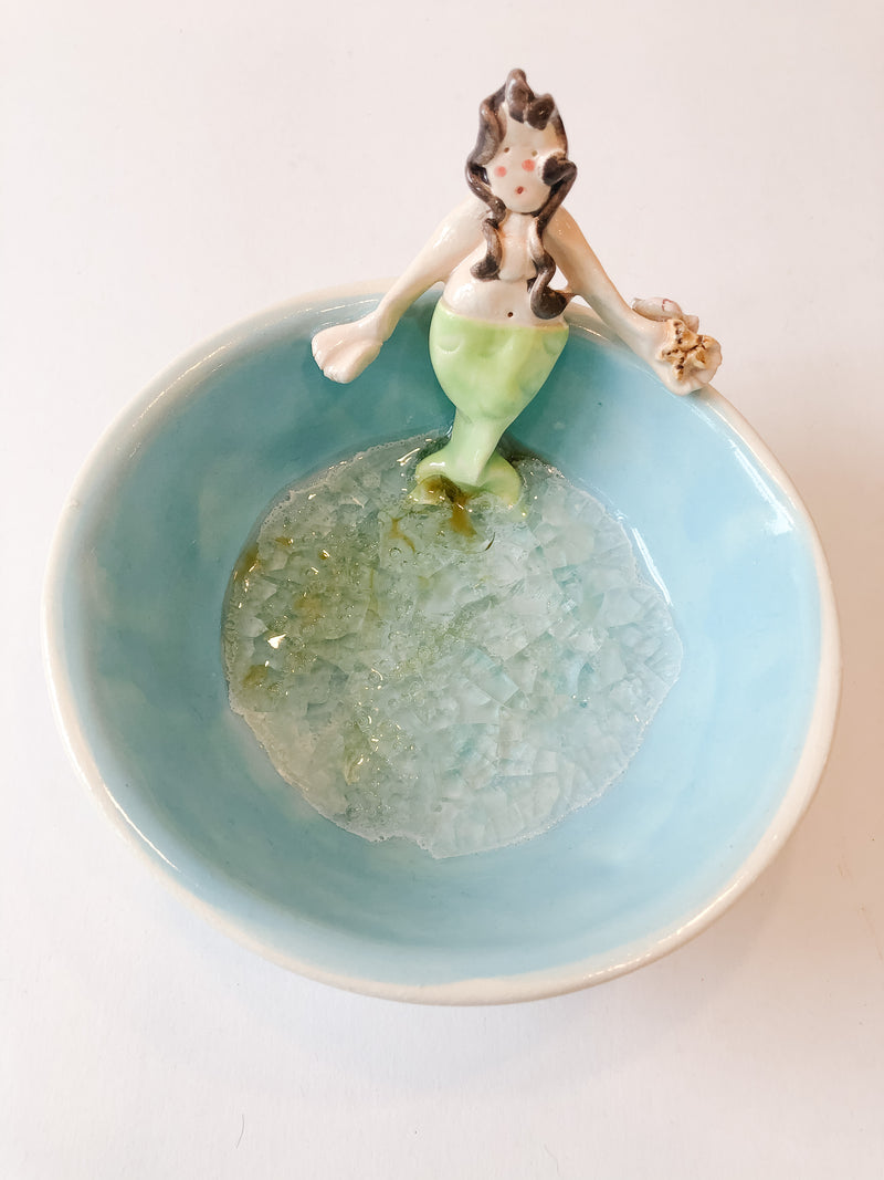Mermaid Bowl with Fused Glass