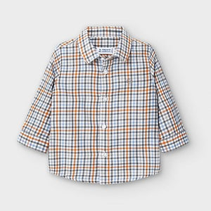 Mayoral Long sleeved checked shirt for baby boy