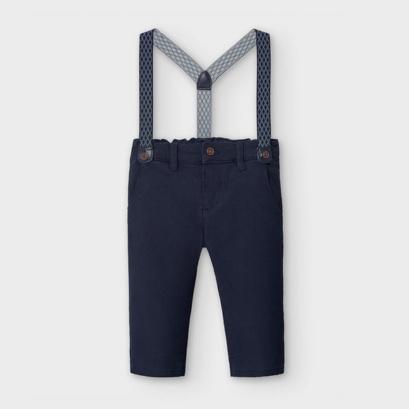 Pique chino trousers with braces for baby boy  (mayoral)