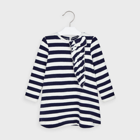 Striped dress with decorative ruffle for girl  (mayoral)