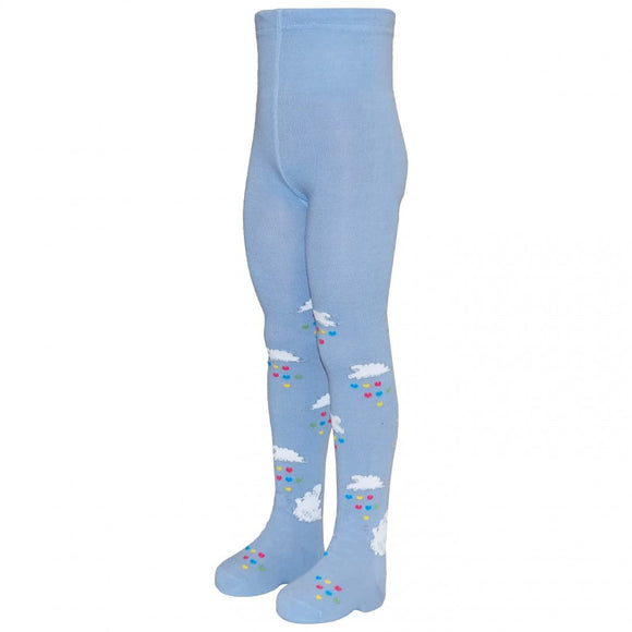 Light Blue Tights Cloud Print  *Big Fit